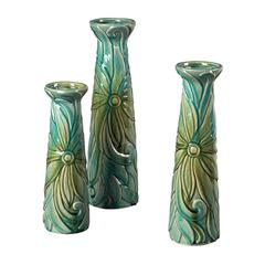 Set Of 3 Tropical Leaf Ceramic Jars