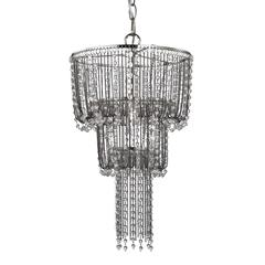 Beaded Mini Chandelier In Satin Nickel And Clear