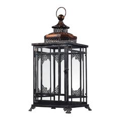 Sterling Black And Gold Hurricane Lantern