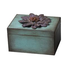 Sterling Wooden/Metal Flower Keep Sake Box - Purple