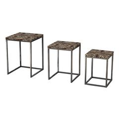 Set Of 3 Leopard Print Stacking Tables