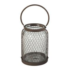 Sterling Glass & Wire Mesh Hurricane (Lg)