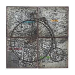 Penny Farthing-Penny Farthing Metal Craft Set On Collage Map Of USA