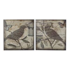 Beleden-Set Of 2 Metal Bird Wall Panels