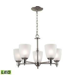 Jackson 5 Light LED Chandelier In Brushed Nickel