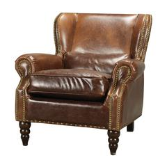 Sterling Kincora Leather And Nail Head Club Chair By