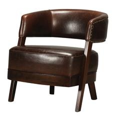 Bethany Hill Leather & Walnut Open Back Barrel Chair By