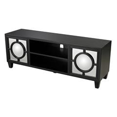 Mirage Black Media Console With Convex Mirror By