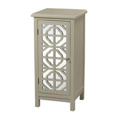 Vivienne Single Door Mirrored Cabinet In Off White By