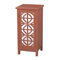 Vivienne-Single Door Mirrored Cabinet In Burnt Orange