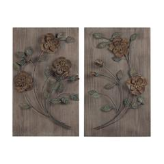 Finningley-Set Of 2 Wooden Wall Panel With Hand painted Metal Flowers