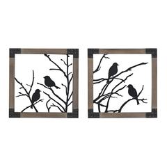 Sterling Ollerton-Set Of 2 Birds On A Branch In Natural Wood Tone Frame