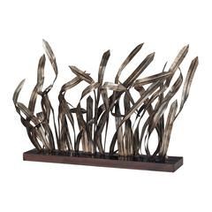 Hayfield-Grass Statuary In Bronze Metal Reposed On Black Base