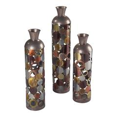 Rainbow-Set Of 3 Lacquered Floor Standing Vases
