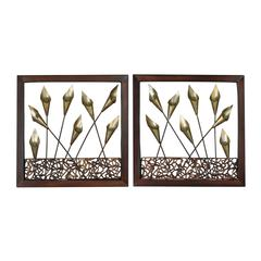 Delph-Set Of 2 Framed Metal Tulip Wall Panels