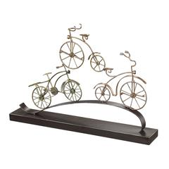 Sterling Little Borough-Bicycles In Gold Leaf Mounted On Pewter Base