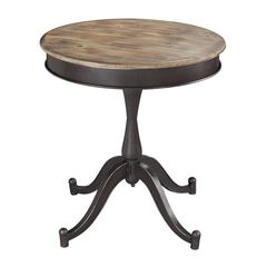 Sterling Halsall-Industrial Side Table With Wood Top