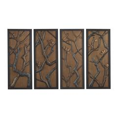 Hiatus-Set Of 3 Hand Cast Branch Wall Panels Mounted On Gold Background