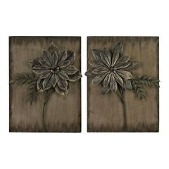 Promenade-Set Of 2 Metal Flower Wall Panels