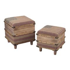 National-Set Of 2 Wooden Storage Ottomans