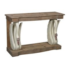 Baywood-Swan Console With Wooden Top
