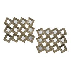 Individual Square Mirrors In One Silver Hammered Metal Frame