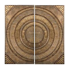 Set Of 2 Abstract Metal Wall Panels
