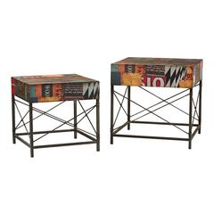Set Of 2 Printed Metal Tables