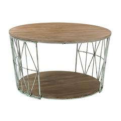 Sterling Round Wood & Metal Coffee Table