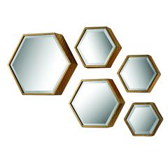 Sterling Set of 5 Hexagonal Mirrors