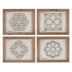 Sterling Set of 4 Geometric Wirework Framed Wall Art