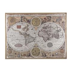 Antique Style World Map Wall Art