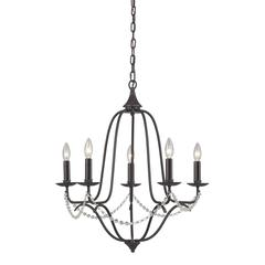 Sterling Tavistock-Rustic Iron 5 Light Chandelier With Beaded Accent Chain