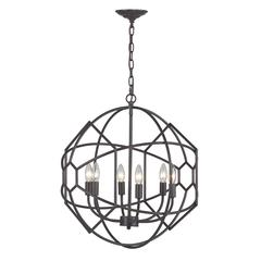Sterling Strathroy 6 Light Orb Chandelier With Honeycomb Metal Work By