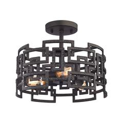 Garriston 3 Light Semi Flush In Clay Iron