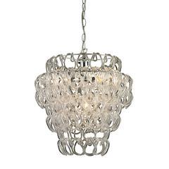 Sterling Torvean (Large)-3 Light Clear Hooked Ring Pendant