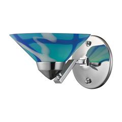 ELK lighting Refraction 1 Light Wall Sconce In Polished Chrome And Carribean Glass