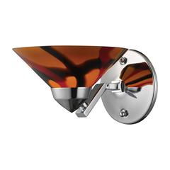 Refraction 1 Light Wall Sconce In Polished Chrome And Jasper Glass