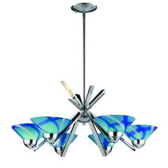 ELK lighting Refraction 6 Light Chandelier In Polished Chrome And Carribean Glass