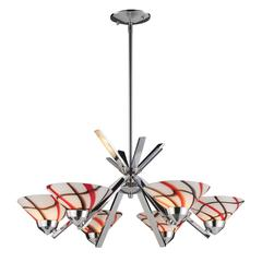 Refraction 6 Light Chandelier In Polished Chrome And Creme White Glass