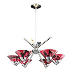 Refraction 6 Light Chandelier In Polished Chrome And Mars Glass
