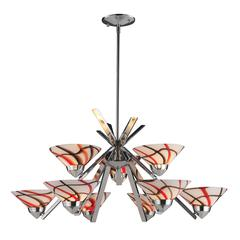 ELK lighting Refraction 9 Light Chandelier In Polished Chrome And Creme White Glass