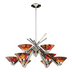 ELK lighting Refraction 9 Light Chandelier In Polished Chrome And Jasper Glass