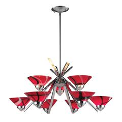 Refraction 9 Light Chandelier In Polished Chrome And Mars Glass
