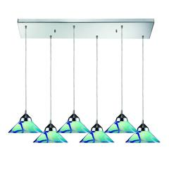 Refraction 6 Light Pendant In Polished Chrome And Caribbean Glass