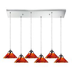 ELK lighting Refraction 6 Light Pendant In Polished Chrome And Jasper Glass