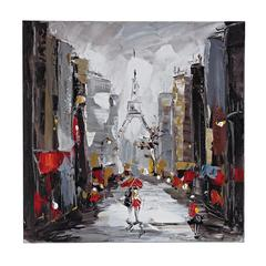 Sterling Paris Scene Oil On Canvas