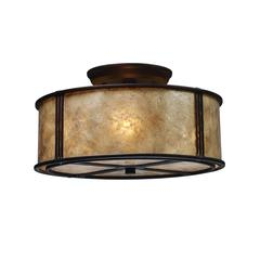 ELK lighting Barringer 3 Light Semi Flush In Aged Bronze And Tan Mica