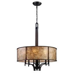 ELK lighting Barringer 6 Light Pendelier In Aged Bronze And Tan Mica