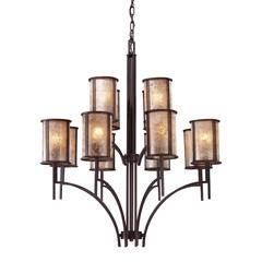 Barringer 8+4 Light Chandelier In Aged Bronze And Tan Mica